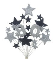 Number age 80th birthday cake topper decoration in silver and black - free postage